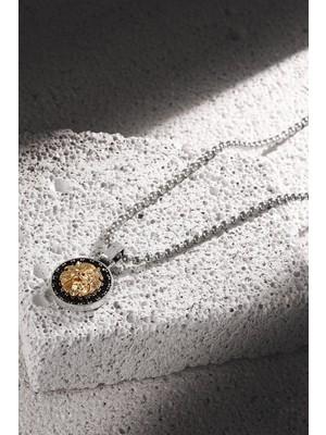 Frnch Aslan Figürlü Zirkon Taşlı Antik Gümüş-Gold Renk Erkek Kolye FRJ30427-527-A2G