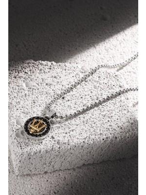 Frnch Poseidon Figürlü Zirkon Taşlı Antik Gümüş-Gold Renk Erkek-Kolye FRJ30428-528-A2G