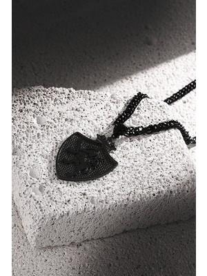 Frnch Aslan Figürlü Mat Siyah Renk Erkek Kolye FRJ30434-534-B2