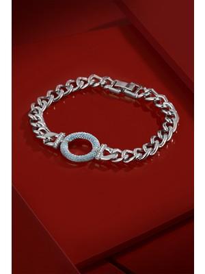 Frnch Turkuaz Zirkon Taşlı Gümüş Renk Kadın Bileklik FRJ11185-1285-A