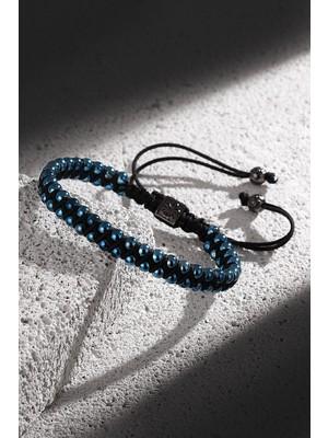 Frnch Mavi Renk Doğal Taşlı Ayarlanabilir Erkek Makrome Bileklik FRJ11166-1266-T
