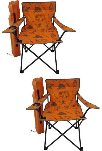 Bofigo 2 Adet Kamp Sandalyesi Katlanır Sandalye Bahçe Koltuğu Piknik Plaj Sandalyesi Desenli Turuncu