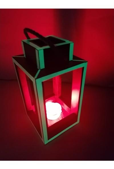 Bahattedarik Ahşap LED Güllü Fosforlu Karanlıkta Parlayan Fener Mumluk 13*25 cm