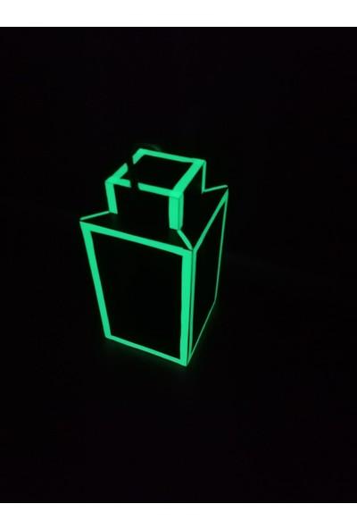 Bahattedarik Ahşap Fosforlu Karanlıkta Parlayan Fener Mumluk Çiçekli Saksı