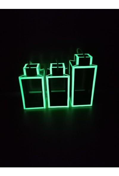 Bahattedarik Ahşap Fosforlu Karanlıkta Parlayan Fener Mumluk Çiçekli Saksı 3 Lü