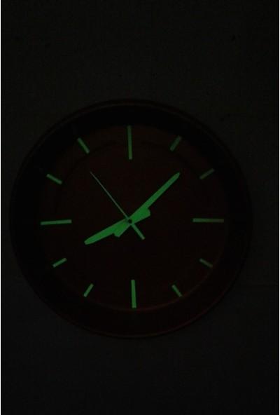 Bahattedarik Fosforlu Gece Parlayan Altın Varaklı Mutfak Salon Duvar Saati Plastik 36 cm