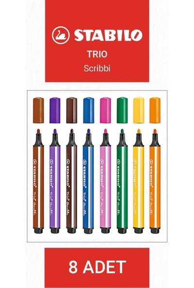 Stabilo Trio Scribbi Kalıcı Keçeli Kalem Seti 8 Renk