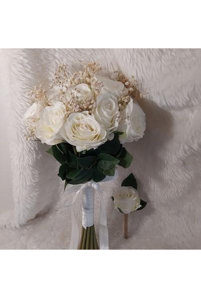 Verda Tasarım Yeni Sezon Gelin Çiçeği ve Damat Yaka Çiçeği!beyaz Gül Demeti! Nişan Düğün Buketi