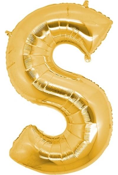 Pazariz Harf Folyo Balon S Harfi Büyük Boy Balon Altın Sarısı /dore 100CM