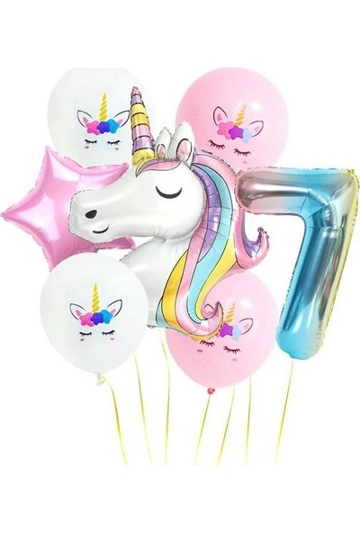 Pazariz Gökkuşağı Rakam Unicorn Folyo Balon Seti 7 Yaş