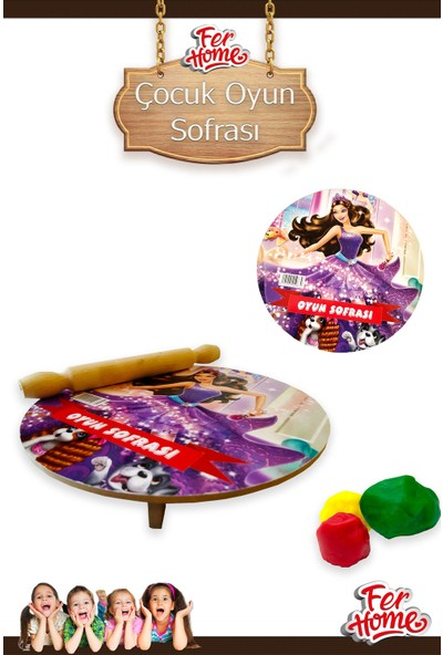 Ferhome Çocuk Oyun Sofrası Seti Ahşap Oyun Hamuru Masası Oklava Merdane