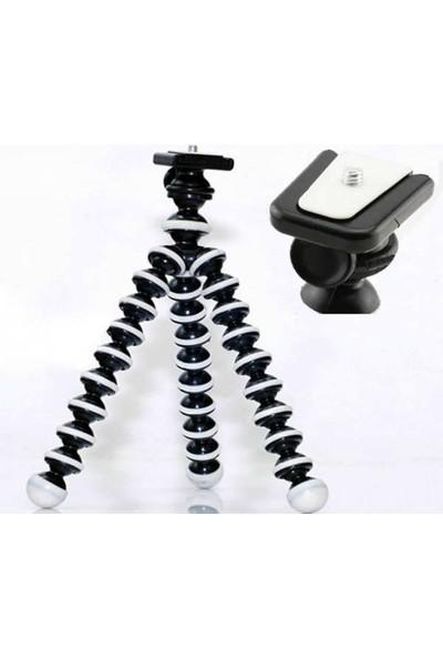 Mettzchrom Aksiyon Kamerası Uyumlu 26CM Uzunluğunda Ahtapot Tripod Hareketli Kafa