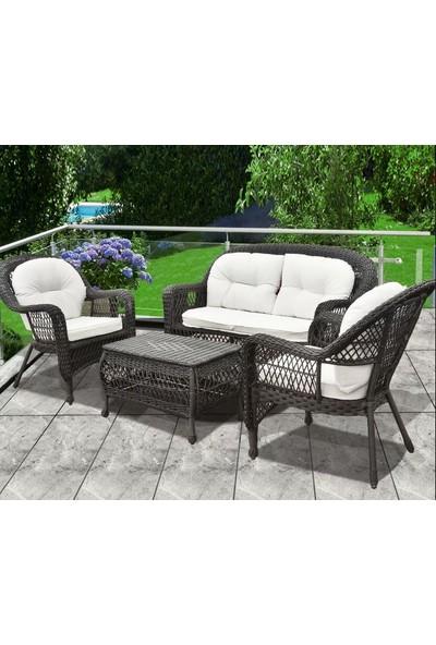 Luxury Rattan Koltuk Bahçe Sandalye Takımı 4 Parça Rattan Balkon Seti Suya Dayanaklı Rattan Örme