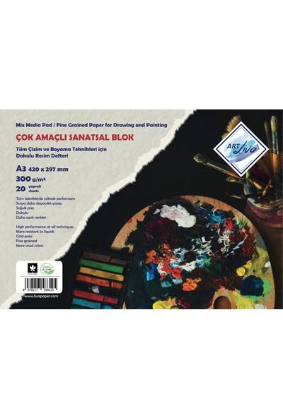 Art Liva A3 Dokulu Sanatsal Sulu Teknik Resim Defteri 300 Gram 20 Yaprak