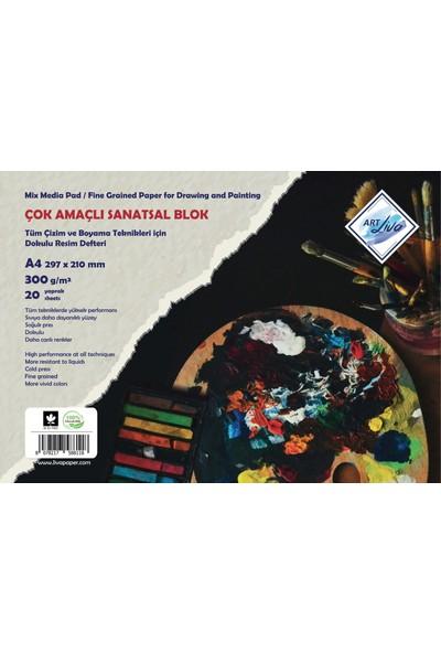 Art Liva A4 Dokulu Sulu Teknik Sanatsal Resim Defteri 300 Gram 20 Yaprak
