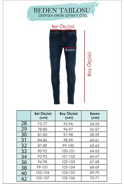 Deepsea Petrol Yeşili Erkek Yıpratmalı Yeni Sezon Dar Kesim Kot Pantolon 2012023