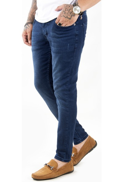 Deepsea Lacivert Yırtmaçlı Likralı Dar Paça Erkek Kot Pantolon 2104681