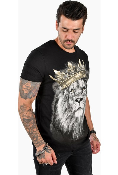 Deepsea Siyah Başı Taçlı Aslan Kral Baskılı Erkek Tişört 2102080