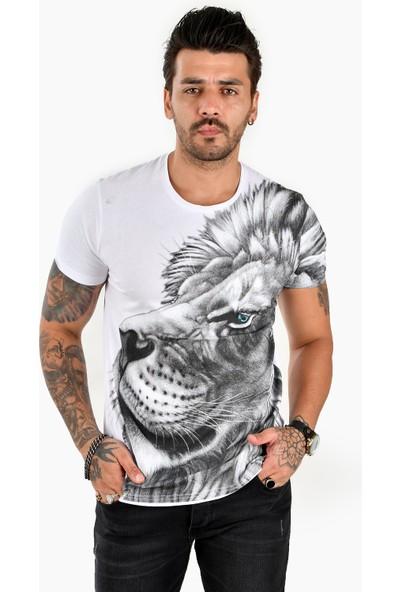 Deepsea Beyaz Yandan Büyük Aslan Baskılı Erkek Tişört 2102088