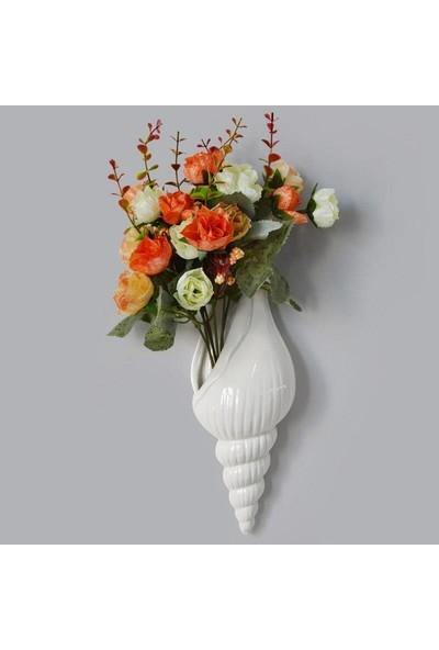 SUME Beyaz Deniz Kabuğu Çiçek Vazosu Modern Duvar Dekoru Vazo