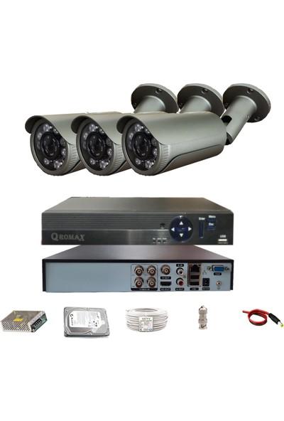 Qromax Pro 40SK8 3 'lü 5 Megapiksel Sony Lens 1080P Sensör Metal Kasa Güvenlik Kamerası Seti