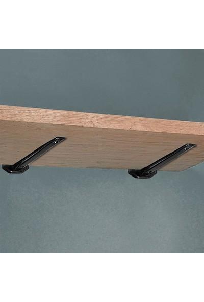 Badem10 Nobel Raf Altı Ayak Raf Tutucu Demir 19 cm Montaj Aparatı (2 Adet) Siyah