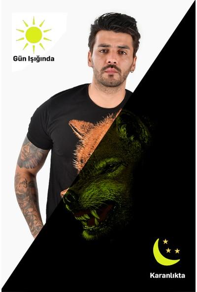 Deepsea Siyah Flourescent Karanlıkta Parlayan Kurt Baskılı Erkek Tişört 2102096