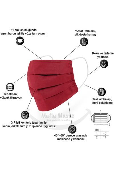 Mutlu Maske Pamuklu Kumaş Yıkanabilir Bez Yüz Maskesi 2'li Sarı - Kırmızı