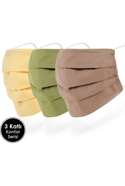 Mutlu Maske Sarı Yeşil Kahverengi 3 Katlı Burun Telli Yıkanabilir Kumaş Organik Pamuklu Maske 3'lü Set