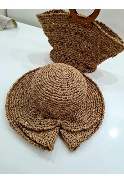 Ays Bohem Tasarım Fiyonk Detaylı Hasır Plaj Şapkası