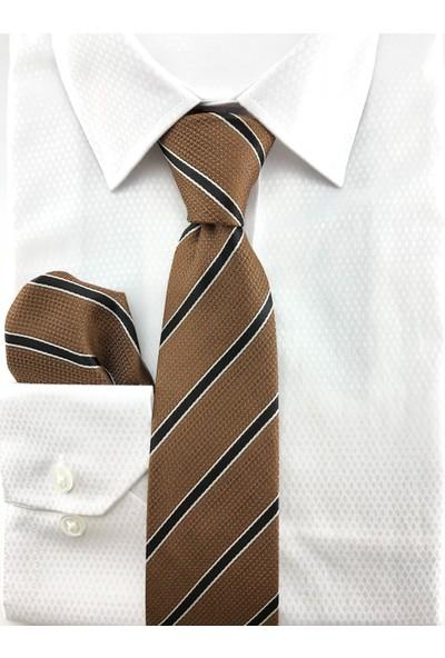 Pierroni Taba Siyah Çizgili Mendilli Kravat