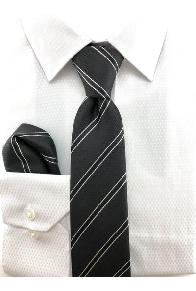 Pierroni Siyah Beyaz Çizgili Mendilli Kravat