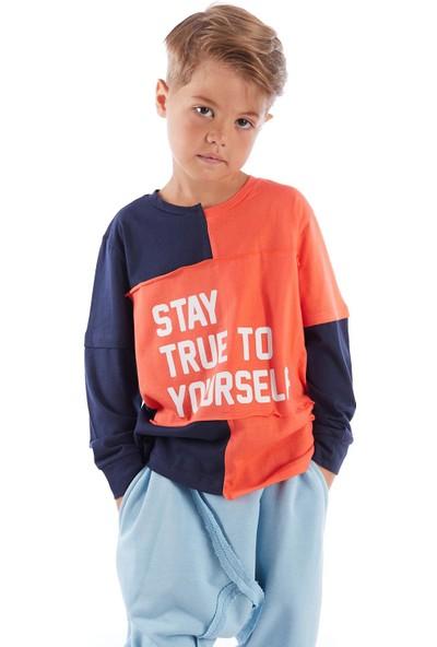 Colorinas Stay True Patch Tshirt Lacivert-Turuncu