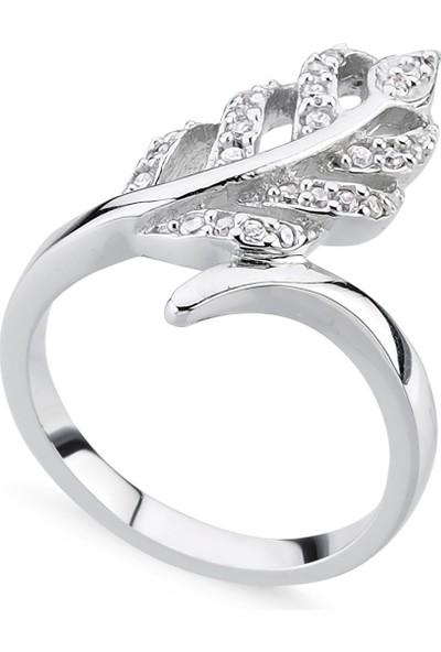 Gümüşhane Silver Zirkon Taşlı Yaprak Yüzük