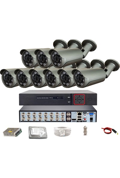 Qromax Pro 40SK8 9 'lu 5 Megapiksel Sony Lens 1080P Sensör Metal Kasa Güvenlik Kamerası Seti
