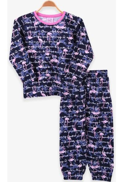 Breeze Kız Çocuk Pijama Takımı Flamingolu Lacivert (4-8 Yaş)