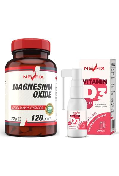 Nevfix Magnesium Oxide Magnezyum 250 Mg 120 Tablet & Vitamin D3 400 Iu 20 ml Sprey (Sıvı)