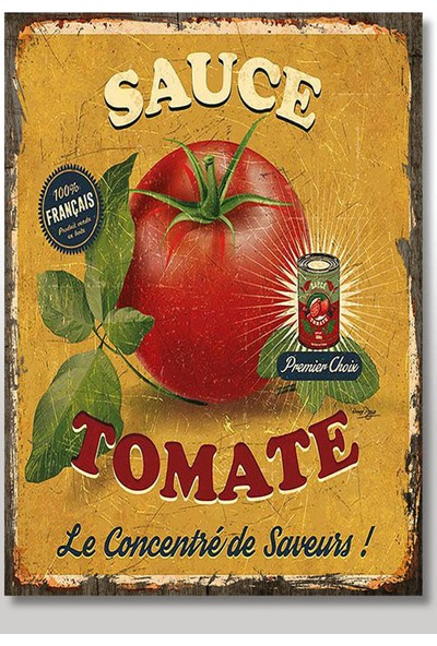 Tablomega Ahşap Tablo Lezetli Domates Domates Sosu Yiyecek ve Içecek Tabloları