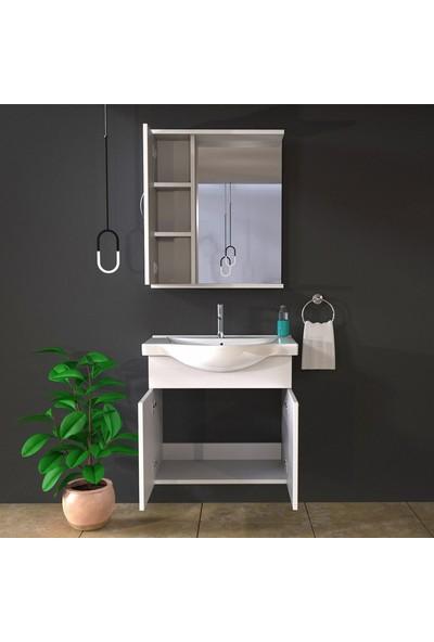 Banos KL2 Ayaksız 2 Kapaklı Lavabolu Beyaz Mdf 65 cm Banyo Dolabı + Aynalı Banyo Üst Dolabı