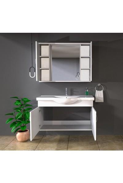 Banos KL2 Ayaksız 2 Kapaklı Lavabolu Beyaz Mdf 100 cm Banyo Dolabı + Aynalı Banyo Üst Dolabı
