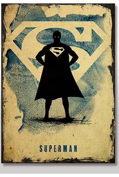Tablomega Ahşap Tablo Eski Supermen Figürü ve Logosu Görseli Çocuk Odası Tabloları