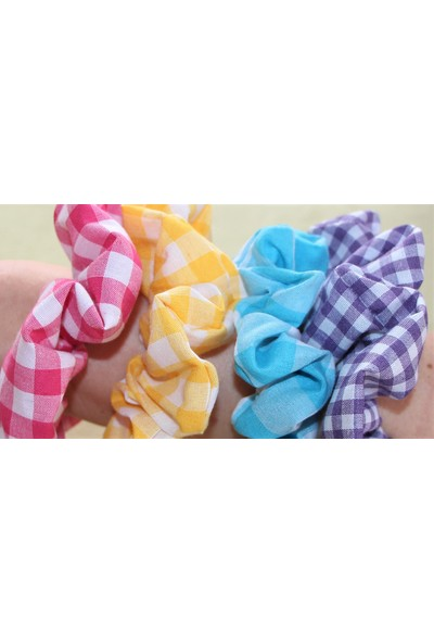1Se2Ge Handmade Renkli Pötikare Kumaş Toka Paket ( Mor, Mavi, Sarı, Pembe)