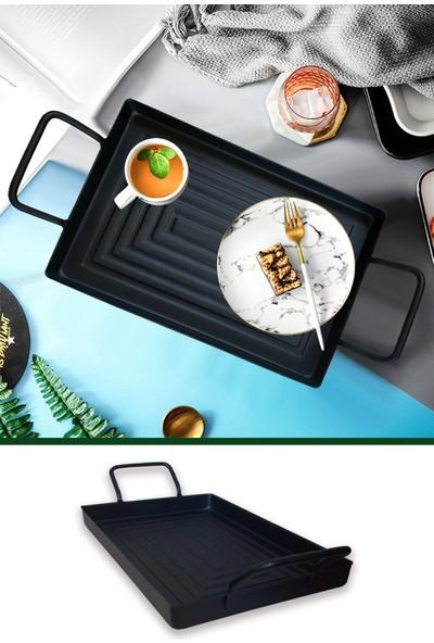 Ferhome Tepsi Çay Kahvaltı Servis Tepsisi Büyük Boy Metal Dekoratif Nişan Söz