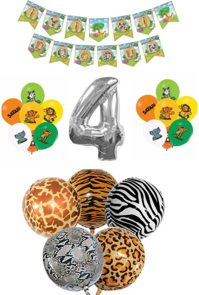 Beysüs Safari Doğum Günü Seti Gümüş Rakam Balon 4 Dört