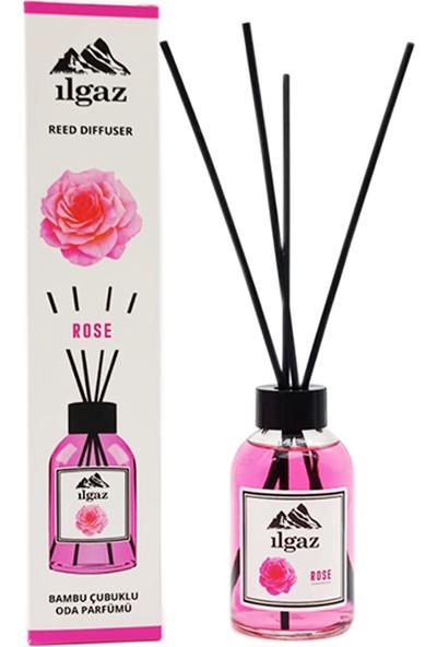 Ilgaz Gül Oda Kokusu Rose Homme Parfum 110 ml Bambu Çubuklu Dinlendirici Gül Çiçeği Oda Parfümü