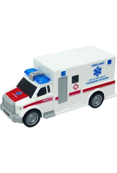 C Toys Işıklı ve Sesli Sürtmeli Ambulans 1:20