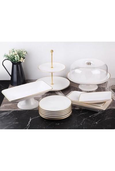 Gönül Porselen 13 Parça Beyaz Gold Pasta Servis Sunum Seti