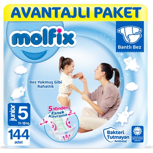 Molfix Bebek Bezi 5 Beden Junior Avantajlı Paket 144'LÜ