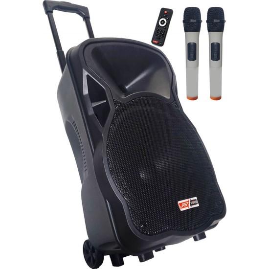 Lastvoice 400 Watt Portatif Taşınabilir Mikrofonlu Hoparlör Sistemi Çift Mikrofonlu