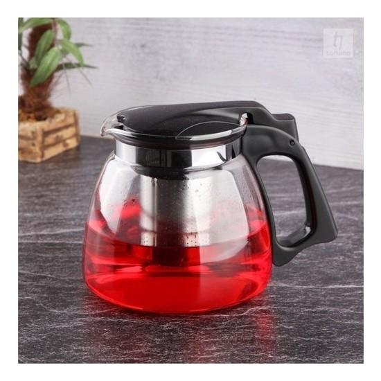 Sas Çelik Süzgeçli Cam Demlik Isıya Dayanıklı Cam Çaydanlık Bitki Çayı Demliği 900 Ml. S-1203